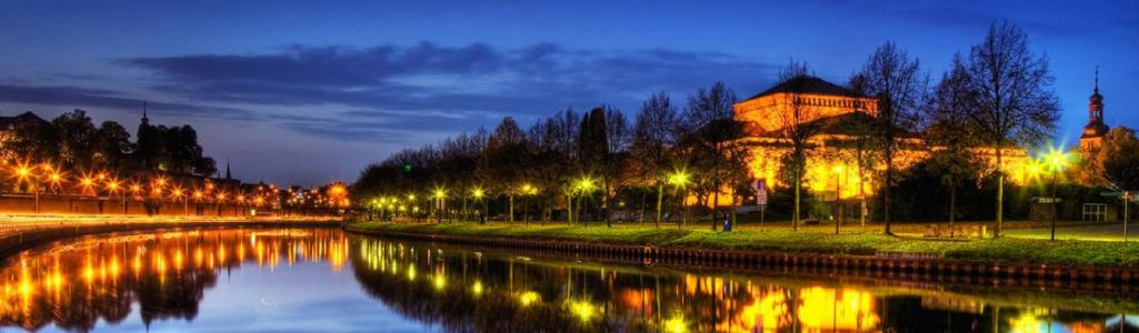 saarbrucken city lake germany night scenery landscape web header
